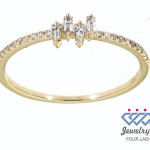 Natural Baguette Diamond Dainty Ring Yellow Gold
